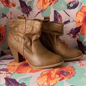 Faux leather brown booties